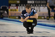 "Glasgow. SCOTLAND. Scotland, Skip. Tom BREWSTER, watches his last ""Stone"" in tenth end during the  ""Round Robin"" Game. Le Gruyère European Curling Championships. 2016 Venue, Braehead  Scotland<br /> Wednesday  23/11/2016<br /> <br /> [Mandatory Credit; Peter Spurrier/Intersport-images]"