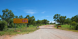 Road closed signs to Windjana Gorge and Tunnel Creek national parks in the wet season.