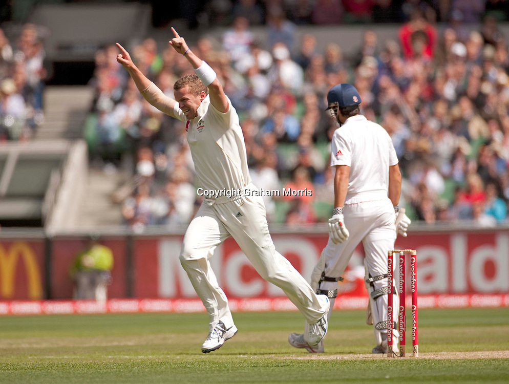 Peter Siddle celebrates removing Alastair Cook (right) during the fourth Ashes test match between Australia and England at the MCG in Melbourne, Australia. Photo: Graham Morris (Tel: +44(0)20 8969 4192 Email: sales@cricketpix.com) 27/12/10