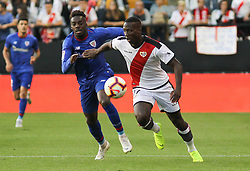 October 24, 2018 - Madrid, Madrid, SPAIN - Williams of Athletic de Bilbao and Imbala of Rayo Vallecano in action during the spanish league, La Liga, football match between Rayo Vallecano and Athletic de Bilbao on October 24, 2018 at Estadio de Vallecas in Madrid, Spain. (Credit Image: © AFP7 via ZUMA Wire)