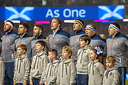 The Scotland players sing the national anthem before the Autumn Test match between Scotland and South Africa at the BT Murrayfield Stadium, Edinburgh, Scotland on 17 November 2018.