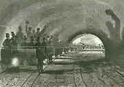 Underground railway: trial trip on the Metropolitan line, train passing Portalnd Road station, London. The line opened to the public in 1863. From 'The Illustrated London News', 13 September 1862.