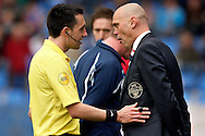 Onderwerp/Subject: Willem II - Eredivisie<br /> Reklame:  <br /> Club/Team/Country: <br /> Seizoen/Season: 2012/2013<br /> FOTO/PHOTO: Coach Jurgen STREPPEL (R) of Willem II in discussion with Referee Dennis HIGLER (L). (Photo by PICS UNITED)<br /> <br /> Trefwoorden/Keywords: <br /> #03 #05 #08 $94 ±1355244121349<br /> Photo- & Copyrights © PICS UNITED <br /> P.O. Box 7164 - 5605 BE  EINDHOVEN (THE NETHERLANDS) <br /> Phone +31 (0)40 296 28 00 <br /> Fax +31 (0) 40 248 47 43 <br /> http://www.pics-united.com <br /> e-mail : sales@pics-united.com (If you would like to raise any issues regarding any aspects of products / service of PICS UNITED) or <br /> e-mail : sales@pics-united.com   <br /> <br /> ATTENTIE: <br /> Publicatie ook bij aanbieding door derden is slechts toegestaan na verkregen toestemming van Pics United. <br /> VOLLEDIGE NAAMSVERMELDING IS VERPLICHT! (© PICS UNITED/Naam Fotograaf, zie veld 4 van de bestandsinfo 'credits') <br /> ATTENTION:  <br /> © Pics United. Reproduction/publication of this photo by any parties is only permitted after authorisation is sought and obtained from  PICS UNITED- THE NETHERLANDS