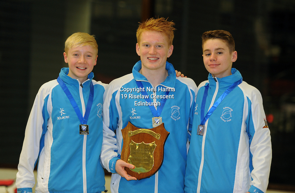 Scottish National Diving Championships & Thistle Trophy 2015<br /> Royal Commonwealth Pool, Edinburgh<br /> <br /> Mens 1m Open National <br />   Lucas Thomson, James Heatly and Aaron Daly  all EDC,<br /> <br /> <br /> <br /> <br />  Neil Hanna Photography<br /> www.neilhannaphotography.co.uk<br /> 07702 246823