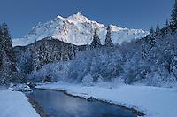 Mount Shuksan seen from the Noocksack River valley in winter, North Cascades Washington