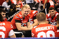 Brett Daly, center, laughs with his teammates during Media Day at the Superdome in New Orleans, Jan. 5, 2007.
