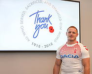 Thomas Burgess during the official launch of the England Rugby League Remembrance Shirt at Imperial War Museum North, Trafford Park, Manchester<br /> Picture by Steve McCormick/Focus Images Ltd 07545 862647<br /> 15/10/2018