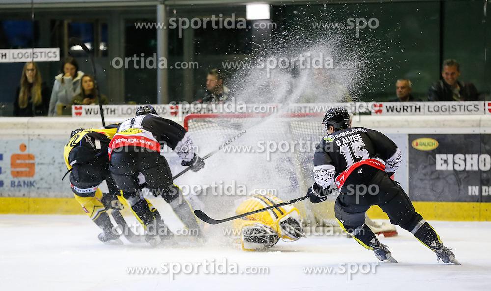 19.09.2014, Messestadion, Dornbirn, AUT, EBEL, Dornbirner EC vs UPC Vienna Capitals, 3.Runde, im Bild Guillaume Desbiens, (Dornbirner EC, #41) und Michael Murphy, (Dornbirner EC, #44)// during the Erste Bank Icehockey League 3rd round match between Dornbirner EC and UPC Vienna Capitals at the Messestadion in Dornbirn, Austria on 2014/09/19, EXPA Pictures © 2014, PhotoCredit: EXPA/ Peter Rinderer