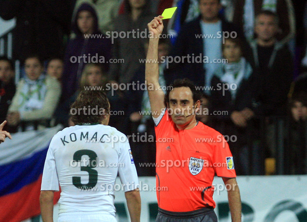 Andrej Komac (3) gets yellow card from referee Eduardo Gonzales Iturralde at the fourth round qualification game of 2010 FIFA WORLD CUP SOUTH AFRICA in Group 3 between Slovenia and Northern Ireland at Stadion Ljudski vrt, on October 11, 2008, in Maribor, Slovenia.  (Photo by Vid Ponikvar / Sportal Images)