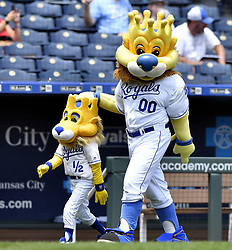July 2, 2017 - Kansas City, MO, USA - Kansas City Royals mascot Sluggerrr with his version of mini-me before a game against the Minnesota Twins on Sunday, July 2, 2017 at Kauffman Stadium in Kansas City, Mo. (Credit Image: © John Sleezer/TNS via ZUMA Wire)