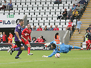 Gary Harkins dolly puts Dundee 2-1 ahead - Morecambe v Dundee, pre-season friendly at the Globe Arena<br /> <br />  - &copy; David Young - www.davidyoungphoto.co.uk - email: davidyoungphoto@gmail.com