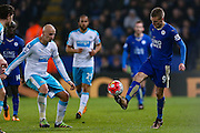 Leicester City forward Jamie Vardy (9)  plays a cheeky chip through during the Barclays Premier League match between Leicester City and Newcastle United at the King Power Stadium, Leicester, England on 14 March 2016. Photo by Simon Davies.