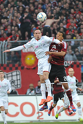 31.03.2012, Easy-Credit-Stadion, Nuernberg, GER, 1. FBL, 1. FC Nuernberg vs FC Bayern Muenchen, 28. Spieltag, im Bild Franck Ribery (Bayern Muenchen/ links) im Kopfballduell mit Timothy Chandler (1.FC Nuernberg/ rechts). Action / Aktion // during the German Bundesliga Match, 28th Round between 1. FC Nuernberg and FC Bayern Munich at the Easy-Credit-Stadium, Nuernberg, Germany on 2012/03/31. EXPA Pictures © 2012, PhotoCredit: EXPA/ Eibner/ Matthias Merz..***** ATTENTION - OUT OF GER *****