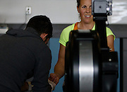 Canadian lightweight women's rower Lindsay Jennerich has her blood lactate tested on the ergometer by Canadian Sport Institute Pacific Innovation and Research Lead Dr. Trent Stellingwerff Friday April 3rd, 2015 in Victoria B.C. Canada.