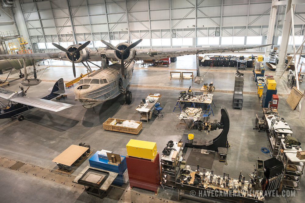 A large amphibious plane undergoing restoration in the Mary Baker Engen Restoration Hangar at the Smithsonian's National Air and Space Museum Udvar-Hazy Center in Chantilly, Virginia, just outside Washington DC.