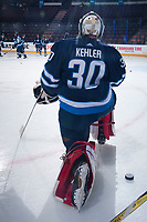 PENTICTON, CANADA - SEPTEMBER 11: Cole Kehler #30 of Winnipeg Jets warms up against the Calgary Flames on September 11, 2017 at the South Okanagan Event Centre in Penticton, British Columbia, Canada.  (Photo by Marissa Baecker/Shoot the Breeze)  *** Local Caption ***