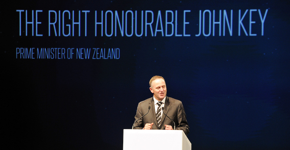 Prime Minister John Key at the launch of Google X's Project Loon which will see balloons floating in the sratosphere as a network of internet antenna across the world providing a internet service to every corner of the earth, Wigram Air Museum, Christchurch, New Zealand, Saturday, June 15, 2013. Credit:SNPA / Ross Setford