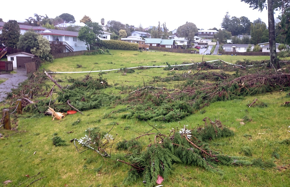 A tornado has struck West harbour causing damage, Auckland, New Zealand, Saturday,  July 18, 2015. Credit:SNPA / Hayden Woodward
