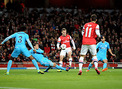 Arsenal's Jack Wilshere opens the scoring for Arsenal  - Photo mandatory by-line: Joe Meredith/JMP - Tel: Mobile: 07966 386802 26/11/2013 - SPORT - FOOTBALL - Emirates Stadium - London - Arsenal V Marseille - Champions League - Group F