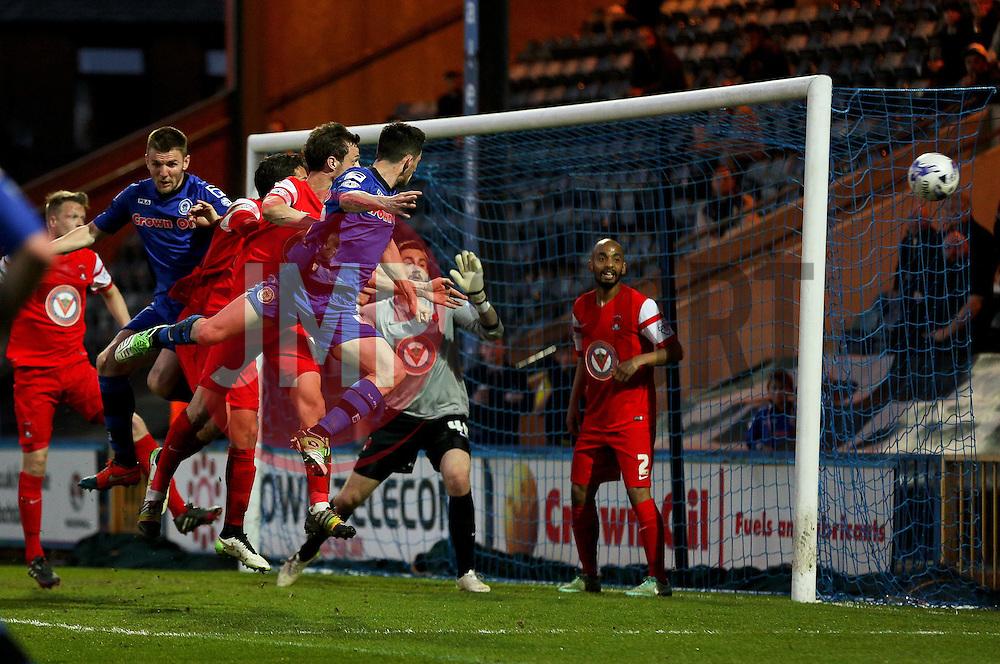 Rochdale's Ian Henderson fires a header wide of goal - Photo mandatory by-line: Matt McNulty/JMP - Mobile: 07966 386802 - 21/04/2015 - SPORT - Football - Rochdale - Spotland Stadium - Rochdale v Leyton Orient - Sky Bet League One