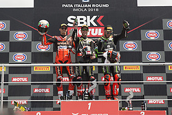 May 13, 2018 - Imola, Italy, Italy - Podium of the winners -1 Jonathan Rea GBR Kawasaki ZX-10RR Kawasaki Racing Team WorldSBK 66 Tom Sykes GBR Kawasaki ZX-10RR Kawasaki Racing Team WorldSBK -7 Chaz Davies GBR Ducati Panigale R Aruba.it Racing - Ducati during the Motul FIM Superbike Championship - Italian Round  race 2 during the World Superbikes - Race at Enzo & Dino Ferrari Circuit on May 13, 2018 in Imola, Italy. (Credit Image: © Fabio Averna/NurPhoto via ZUMA Press)