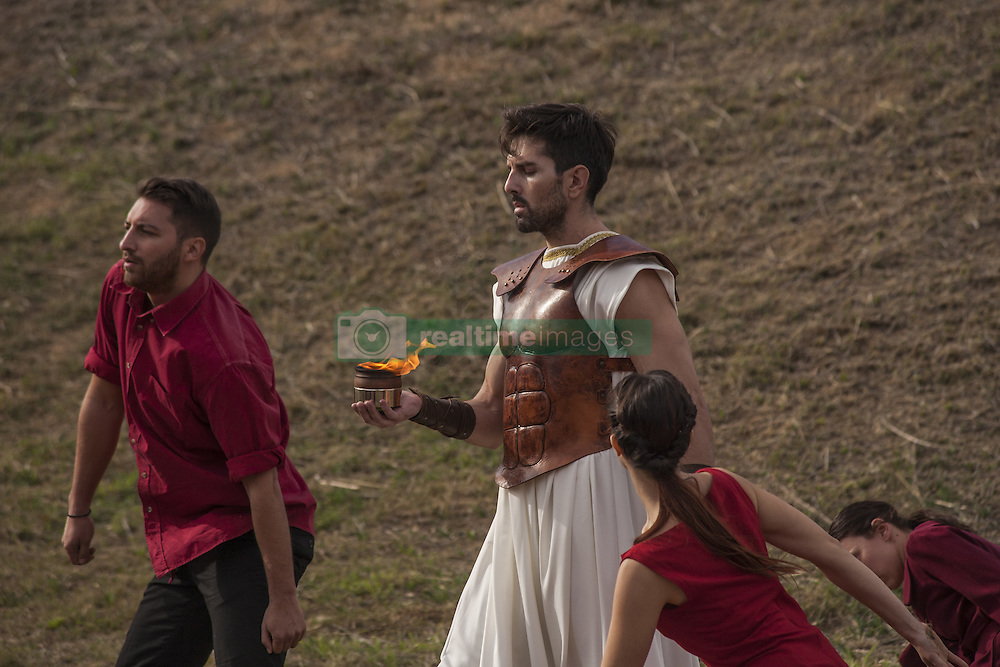 November 12, 2016 - Marathonas, Greece - Day Runner brings the Olympic Flame to the Tomb Of Marathon. Ceremony in the Greek city of Marathonas as part of the 35 Athens Marathon the Authentic. (Credit Image: © George Panagakis/Pacific Press via ZUMA Wire)