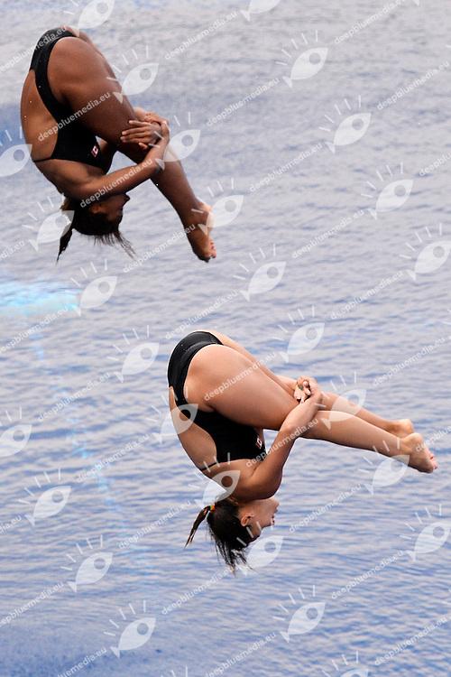 Jennifer Abel, Pamela Ware Canada Bronze medal <br /> Diving Women's 3m Synchro Springboard - Tuffi Trampolino 3m sincronizzato<br /> Barcellona 20/7/2013 Palau Sant Jordi <br /> Barcelona 2013 15 Fina World Championships Aquatics <br /> Foto Andrea Staccioli Insidefoto
