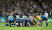 London, Great Britain, Romanian scrum, during a Pool D game,     France vs Romania. 2015 Rugby World Cup. Venue. The Stadium Queen Elizabeth Olympic Park. Stratford. East London. England,, Wednesday  23/09/2015. <br /> [Mandatory Credit; Peter Spurrier/Intersport-images]