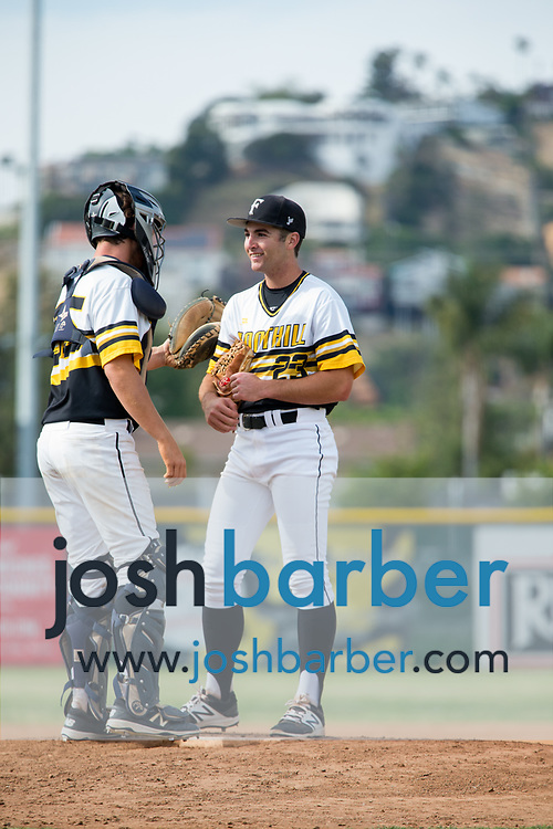 Foothill's Cage Massey and Ryan Taurek during a Crestview League game at Foothill High School on Friday, May 5, 2017 in North Tustin, Calif. Foothill won 4-2. (Photo by Josh Barber, Contributing Photographer)