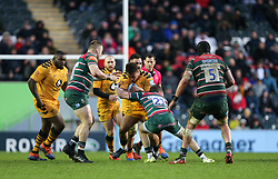 Gabriel Oghre of Wasps is tackled by Harry Simmons of Leicester Tigers - Mandatory by-line: Arron Gent/JMP - 15/02/2020 - RUGBY - Welford Road Stadium - Leicester, England - Leicester Tigers v Wasps - Gallagher Premiership Rugby