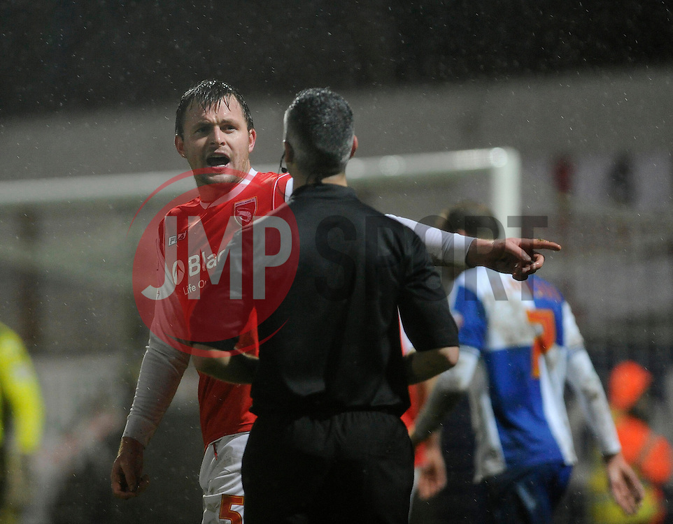 Morecambe's Mark Hughes shouts at the referee - Photo mandatory by-line: Dougie Allward/JMP - Tel: Mobile: 07966 386802 14/12/2013 - SPORT - Football - Morecombe - Globe Arena - Morecombe v Bristol Rovers - Sky Bet League Two