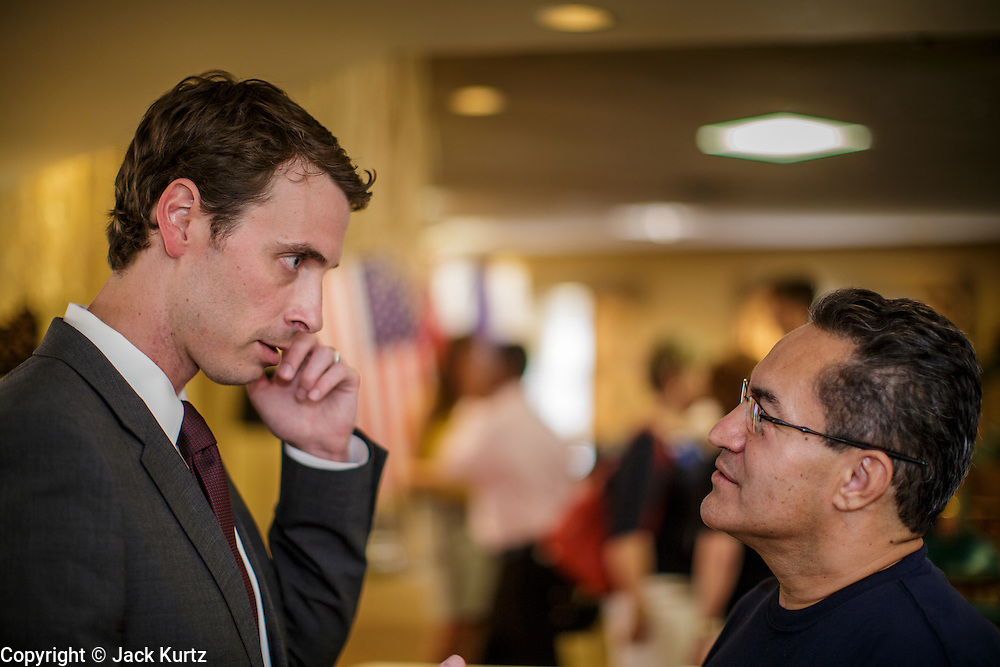 09 AUGUST 2012 - SCOTTSDALE, AZ:  Congressman BEN QUAYLE (R-AZ) campaigns after a candidate forum at an adult assisted living facility in Scottsdale, AZ, Thursday. Republican Congressmen Ben Quayle and David Schweikert are facing each other in Arizona's Aug. 28 Republican primary. They are vying for the right to represent Arizona's 6th Congressional District. Both men are incumbent freshmen Congressmen. They were thrown into the same district during the redistricting process after the 2010 census. Both men are conservatives courting the Tea Party vote.   PHOTO BY JACK KURTZ