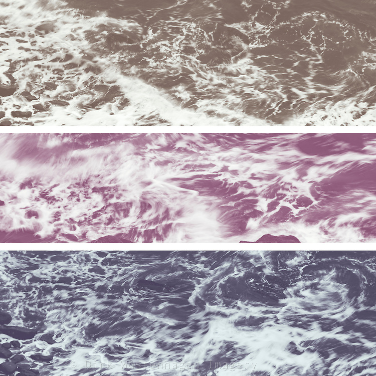 Tryptych of waves in motion - colored version<br />
