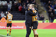 Hull City forward Jarrod Bowen (20) celebrates scoring two goals as he is substituted towards the end of  the EFL Sky Bet Championship match between Hull City and Swansea City at the KCOM Stadium, Kingston upon Hull, England on 22 December 2018.