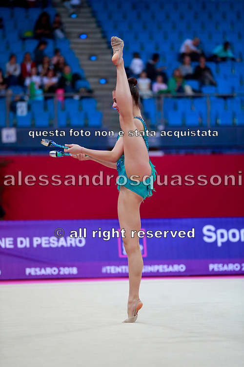 Pigniczki Fanni during the qualification of clubs at the Pesaro World Cup 2018. She was born in Budapest Hungary in 2000.