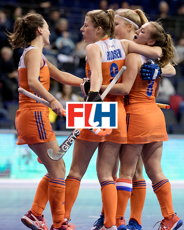 BERLIN - Indoor Hockey World Cup<br /> Women: Poland - Netherlands<br /> foto: The Netherlands celebrate.<br /> WORLDSPORTPICS COPYRIGHT FRANK UIJLENBROEK