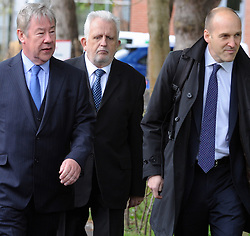 © Licensed to London News Pictures. 01/05/2015<br /> Dr Errol Cornish 67 (middle, elderly man)  walking into Sevenoaks Mags with his legal team.<br /> A doctor and a hospital trust will face charges in court today following the death of a young primary school teacher after giving birth in 2012.<br /> Dr Errol Cornish, 67, of Holmbury Park, Bromley, will answer a charge of gross negligence manslaughter, while the Maidstone and Tunbridge Wells NHS Trust will answer a charge of corporate manslaughter at Sevenoaks Magistrates Court.<br /> <br /> (Byline:Grant Falvey/LNP)