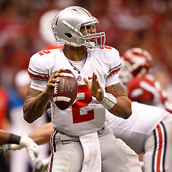 January 4, 2011; New Orleans, LA, USA; Ohio State Buckeyes quarterback Terrelle Pryor (2) looks to throw against the Arkansas Razorbacks during the fourth quarter of the 2011 Sugar Bowl at the Louisiana Superdome.Ohio State defeated Arkansas 31-26. Mandatory Credit: Derick E. Hingle