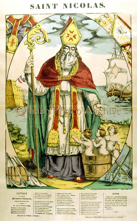 St Nicholas of Myra (300-399) Christian prelate.  Imprisoned by Diocletian and released by Constantine, here saving three innocents from execution (or giving three girls a dowry).. Santa Claus. 19th century French coloured woodcut.