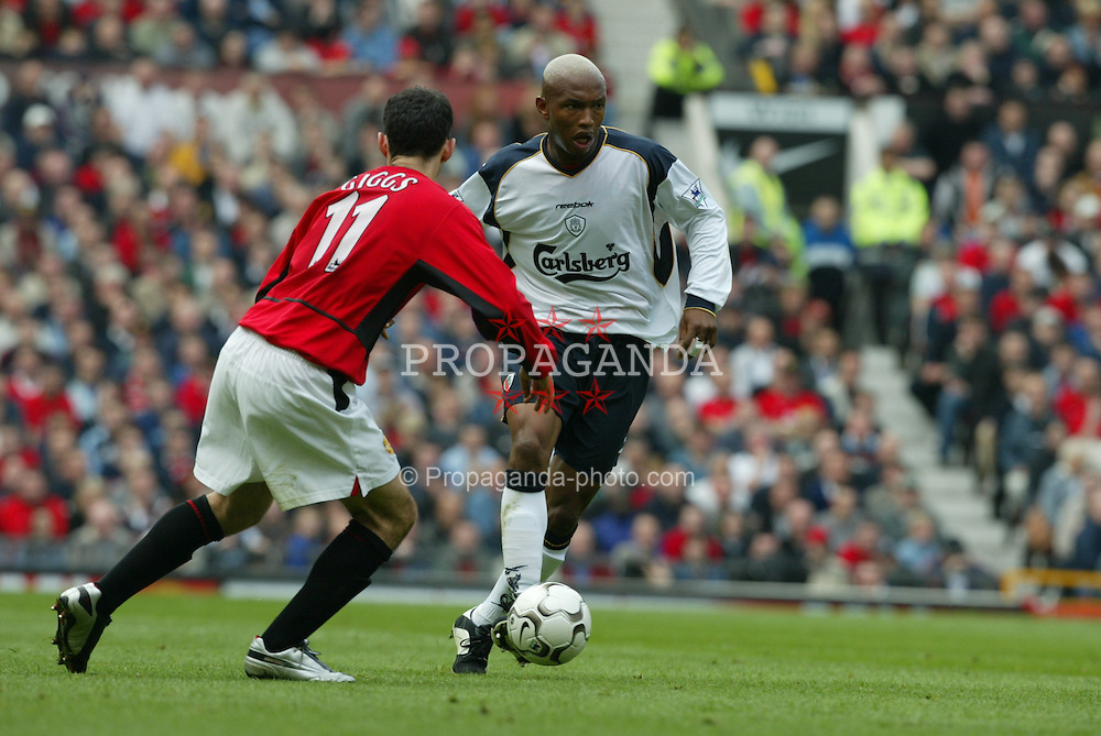 MANCHESTER, ENGLAND - Saturday, April 5, 2003: Liverpool's El-Hadji Diouf in action against Manchester United during the Premiership match at Old Trafford. (Pic by David Rawcliffe/Propaganda)