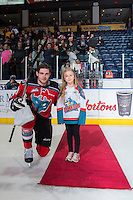 KELOWNA, CANADA - MARCH 18: Leon Draisaitl #29 of Kelowna Rockets accepts a star of the game against the Seattle Thunderbirds on March 18, 2015 at Prospera Place in Kelowna, British Columbia, Canada.  (Photo by Marissa Baecker/Shoot the Breeze)  *** Local Caption *** Leon Draisaitl;