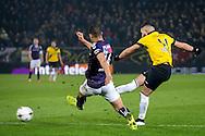BREDA, NAC Breda - Go Ahead Eagles 1-0, voetbal Eredivisie seizoen 2014-2015, 14-03-2015, Rat Verlegh Stadion, NAC Breda speler Adnane Tignadouini (R) scoort de 1-0 in de laatste minuut, GA Eagles speler Mawouna Amevor (M) is te laat.