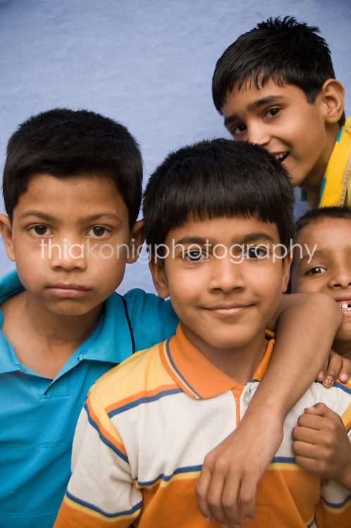 Group of kids pose for camera, Udaipur, India