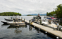 The Marine Patrol fleet stands ready as the Memorial Day weekend welcomes the beginning of summer to Lake Winnipesaukee.  (Karen Bobotas/for the Laconia Daily Sun)