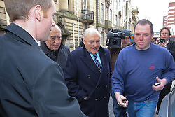 © Licensed to London News Pictures . 01/03/2013 . Preston , UK . STUART HALL (centre) leaves Preston Crown Court today (1st March 2013) . The broadcaster is accused of rape and sexual assault . Photo credit : Joel Goodman/LNP