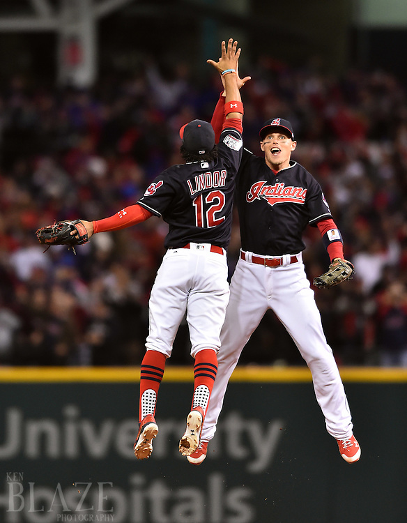 Oct 25, 2016; Cleveland, OH, USA; Cleveland Indians shortstop Francisco Lindor (12) celebrates with left fielder Brandon Guyer after defeating the Chicago Cubs in game one of the 2016 World Series at Progressive Field. Mandatory Credit: Ken Blaze-USA TODAY Sports