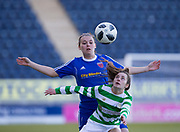 Forfar Farmington's Sophie Milligan battles for the ball with Ce;tic's Rachael O'Neil - Celtic v Forfar Farmington in the SWPL Cup semi final at Falkirk, Falkirk Stadium,<br /> <br />  - &copy; David Young - www.davidyoungphoto.co.uk - email: davidyoungphoto@gmail.com