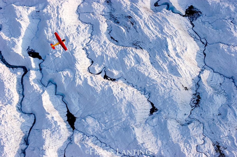 Plane over glacier (aerial), Wrangell-St. Elias National Park, Alaska