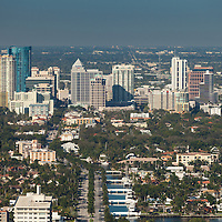 Aerial view of downtown Fort Lauderdale and East Las Olas Boulevard looking west