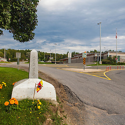 Border crossing between Fort Fairfield, Maine and Andover, New Brunswick. This is where the International Appalachian Trail crosses from the United States into Canada.